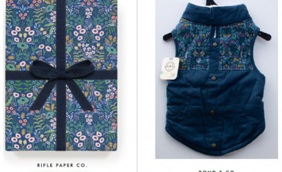 Pet clothing seller sued for infringing on wrapping paper copyright.  RIFLE PAPER v. PETCO