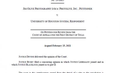 德克萨斯州最高法院裁定,该州侵犯版权不是一种行为。OLIVE诉UNIVERSITY OF HOUSTON案