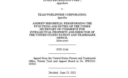先前艺术的起诉历史有助于将专利从预期中拯救出来。INTEX诉TEAM WORLDWIDE案