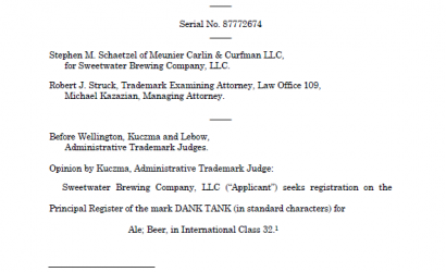 DANK found to be merely descriptive, brewery denied trademark registration. IN RE SWEETWATER